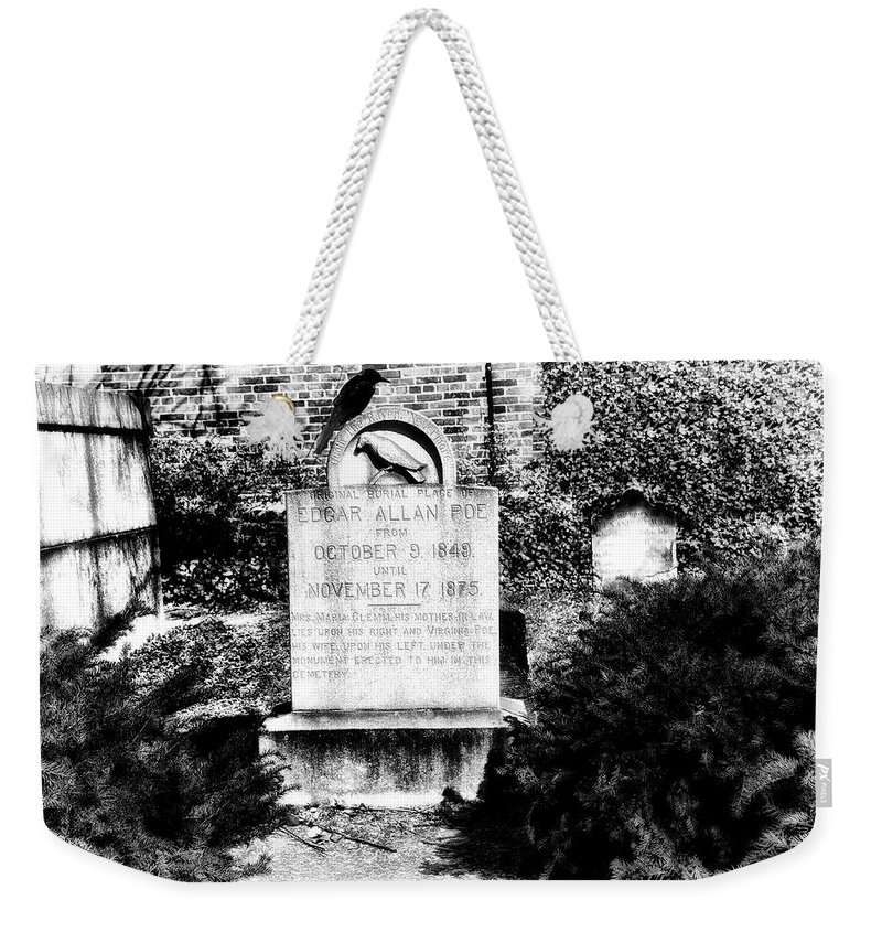Edgar Weekender Tote Bag featuring the photograph Edgar Allen Poe Grave Site Baltimore by Bill Cannon