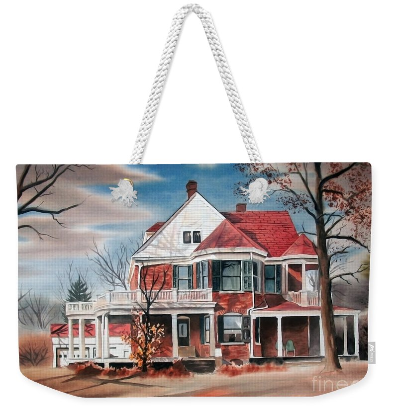 Edgar Home Weekender Tote Bag featuring the painting Edgar Home by Kip DeVore