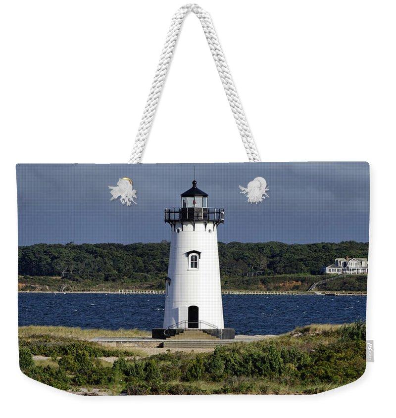 Edgartown Harbor Light Weekender Tote Bag featuring the photograph Edgartown Lighthouse by John Greim