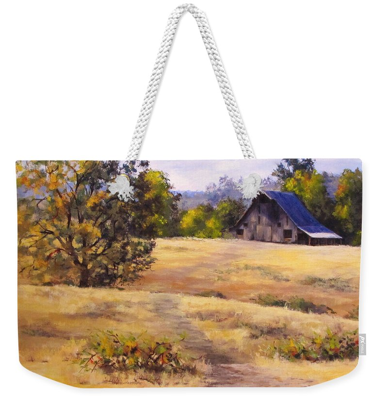 Landscape Weekender Tote Bag featuring the painting Edge of Autumn by Karen Ilari