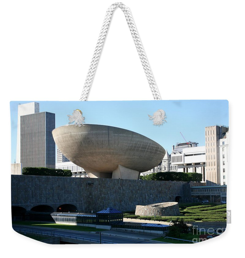Empire State Plaza Weekender Tote Bag featuring the photograph Egg Performing Arts Venue by Bill Cobb