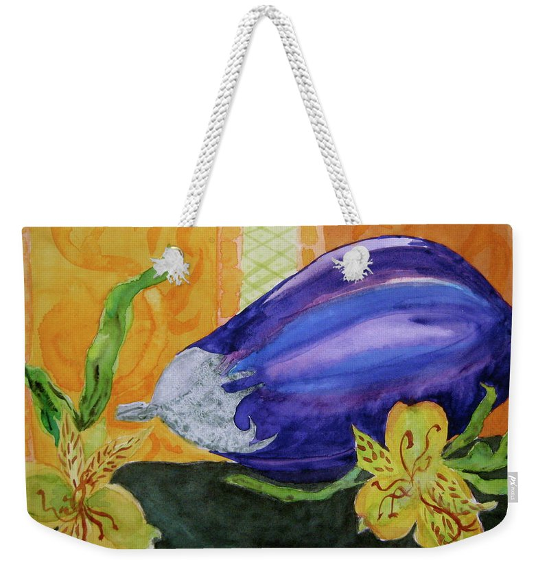 Eggplant Weekender Tote Bag featuring the painting Eggplant And Alstroemeria by Beverley Harper Tinsley