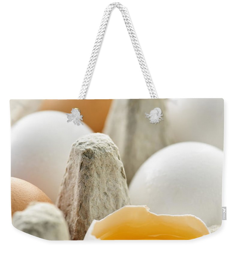 Eggs Weekender Tote Bag featuring the photograph Eggs In Box by Elena Elisseeva