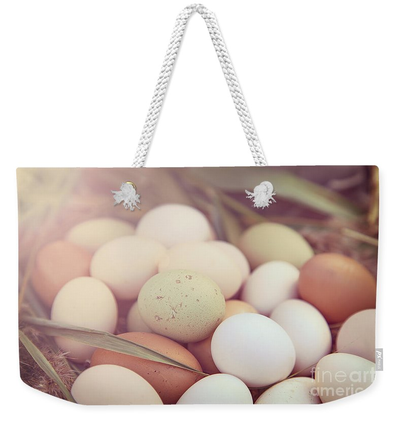 Easter Weekender Tote Bag featuring the photograph Eggs by Sophie McAulay