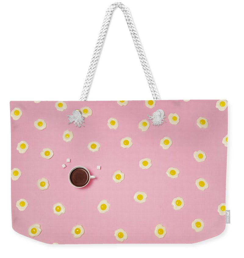 Breakfast Weekender Tote Bag featuring the photograph Eggs With Coffee Cup On Pink Background by Juj Winn