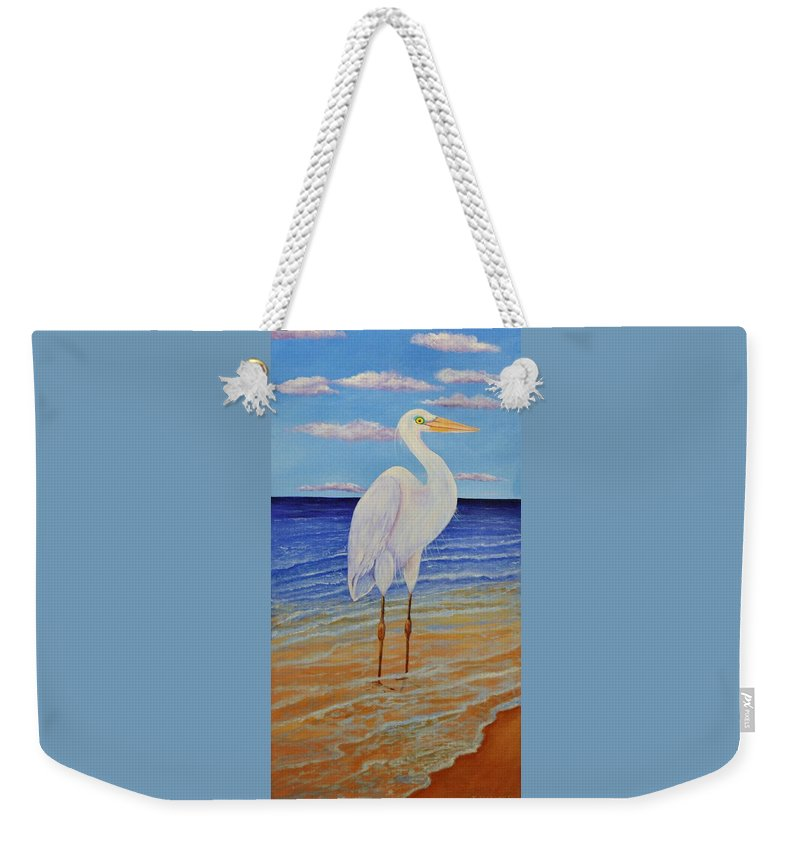 Bird Weekender Tote Bag featuring the painting Eager Egret by Jane Ricker