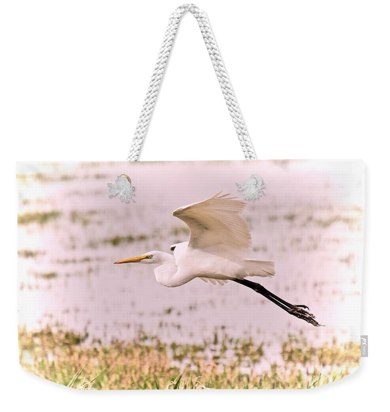 Egret Weekender Tote Bag featuring the photograph Egret Pastel by Athena Mckinzie