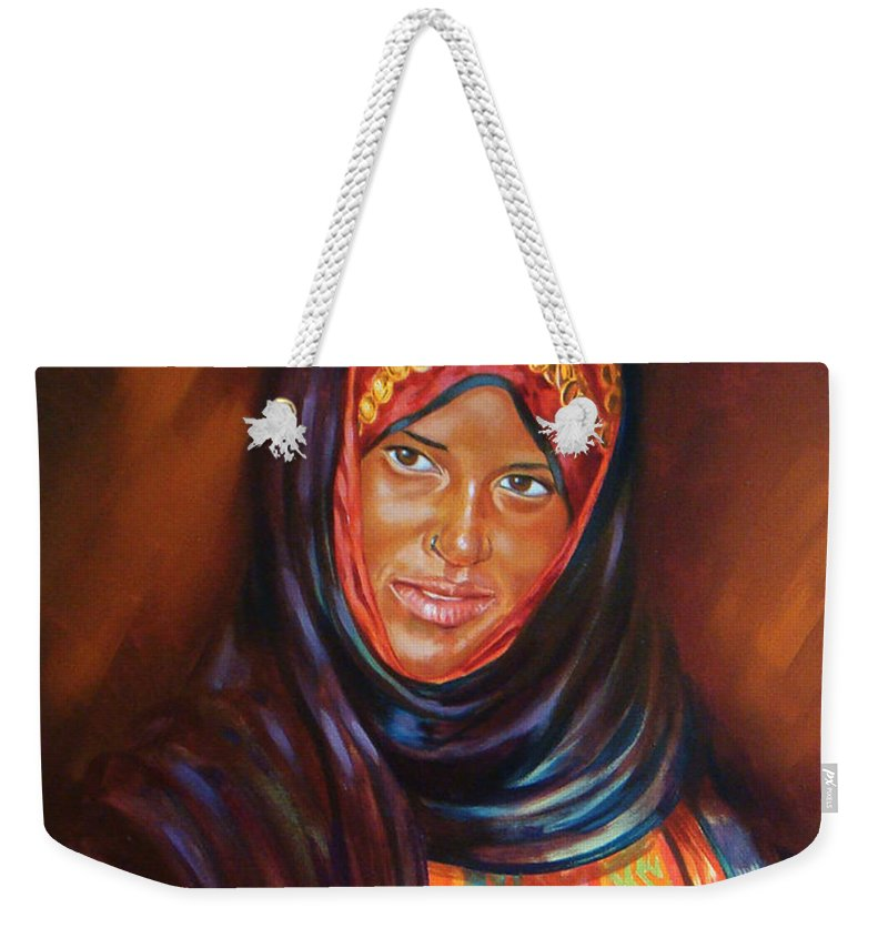 Portrait Weekender Tote Bag featuring the painting Egyptian Nubian Girl by Ahmed Bayomi