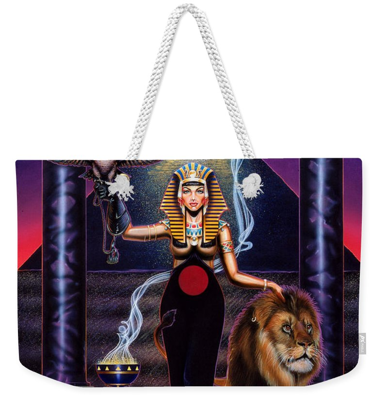 Egypt Weekender Tote Bag featuring the painting Egyptian Queen by Timothy Scoggins