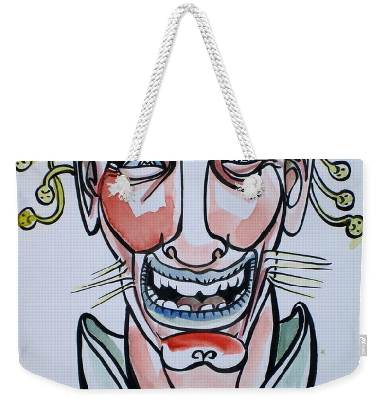 Smiling Weekender Tote Bag featuring the drawing Eh Boy by Fabrizio Cassetta