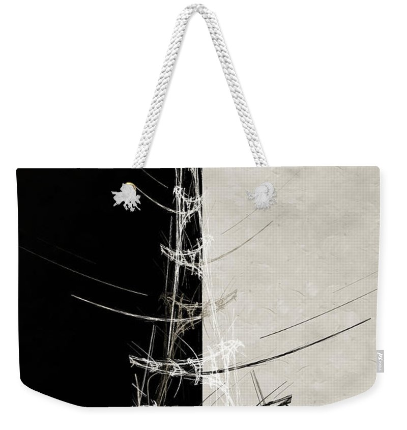 Abstract Weekender Tote Bag featuring the digital art Eiffel Tower Abstract Bw by Andee Design