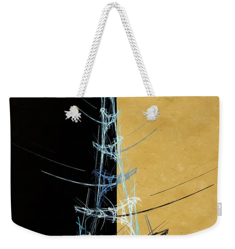Abstract Weekender Tote Bag featuring the digital art Eiffel Tower In Blue Abstract by Andee Design