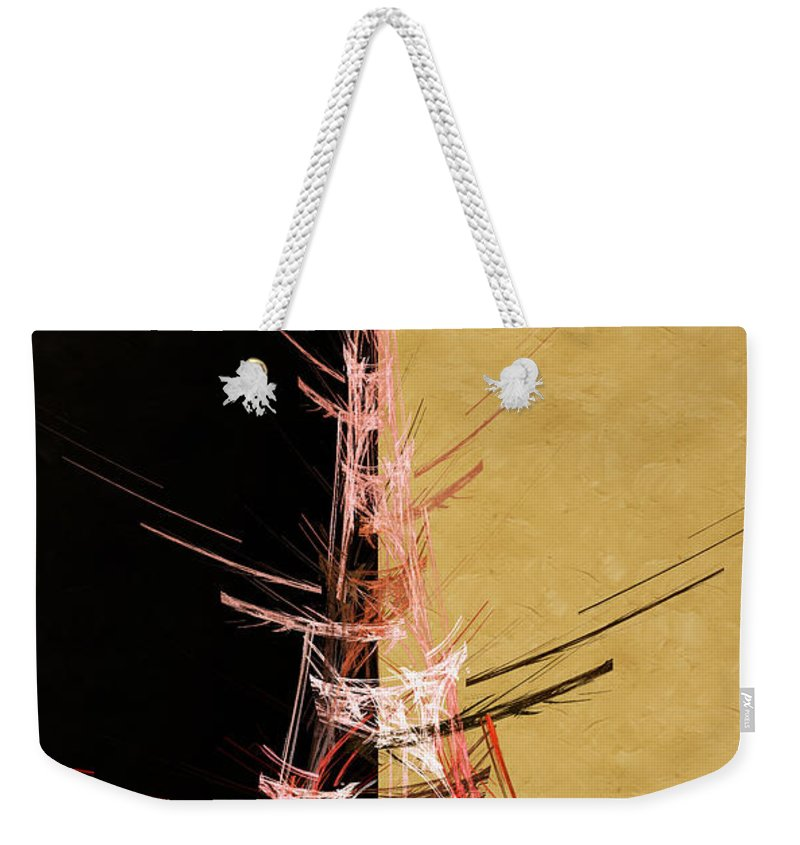 Abstract Weekender Tote Bag featuring the digital art Eiffel Tower In Red On Gold Abstract by Andee Design