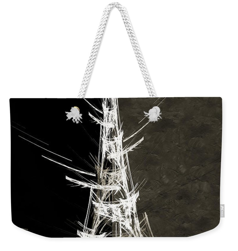 Abstract Weekender Tote Bag featuring the digital art Eiffel Tower In White Bw 2 Abstract by Andee Design