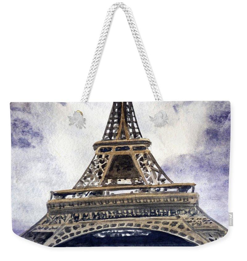 Paris Weekender Tote Bag featuring the painting Eiffel Tower Paris by Irina Sztukowski