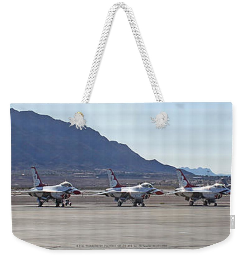 F16s Weekender Tote Bag featuring the photograph Eight F-16 Thunderbird Falcon's On Static Display Nellis by Carl Deaville