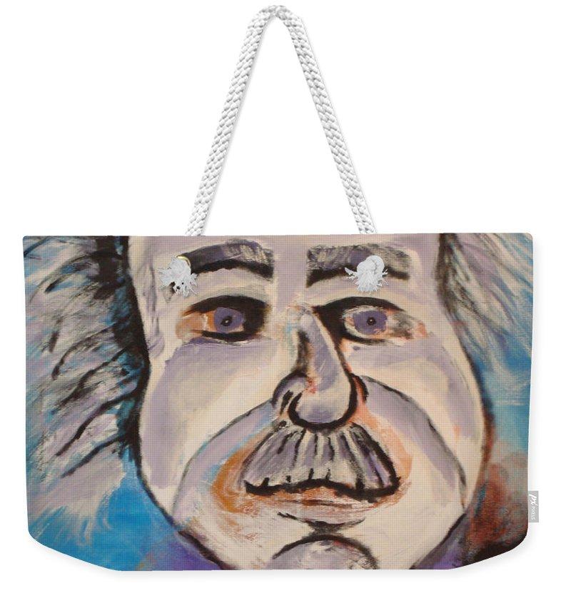 Rick Huotari Weekender Tote Bag featuring the painting Einstein by Rick Huotari