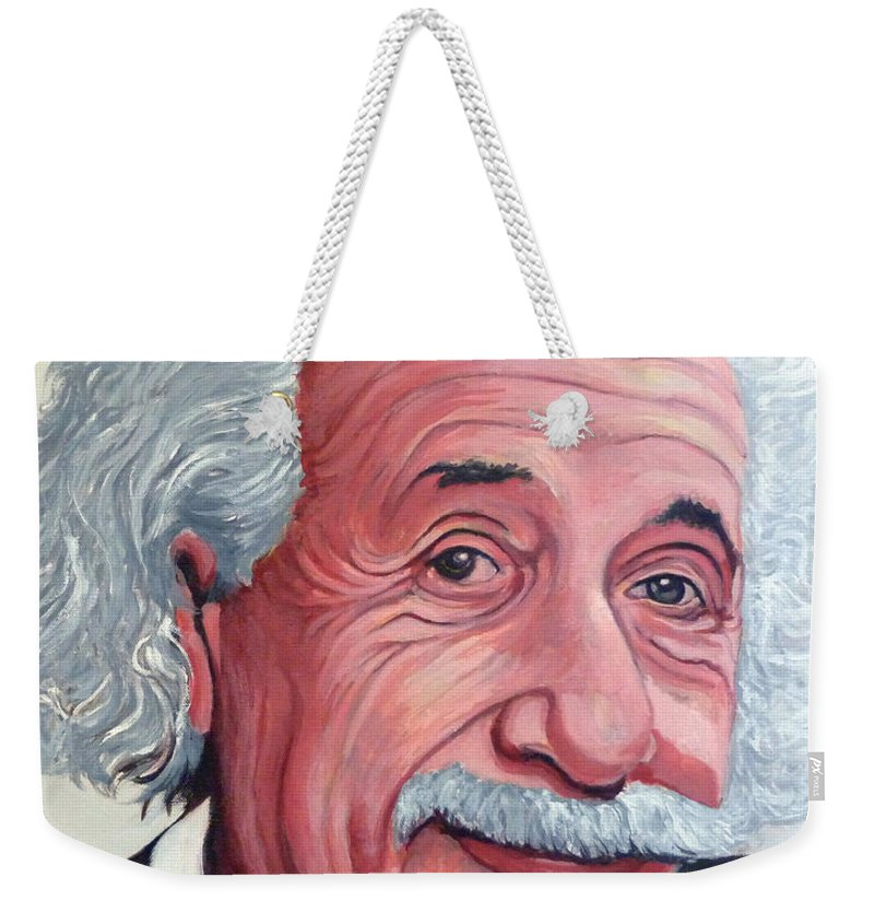 Einstein Weekender Tote Bag featuring the painting Einstein by Tom Roderick
