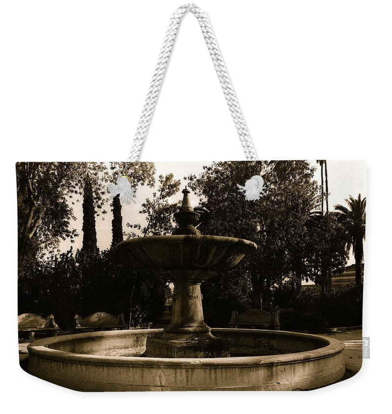 El Paso And Southwestern Rr Depot Fountain Tucson Arizona 1978 Weekender Tote Bag featuring the photograph El Paso And Southwestern Rr Depot Fountain Tucson Arizona 1978 by David Lee Guss