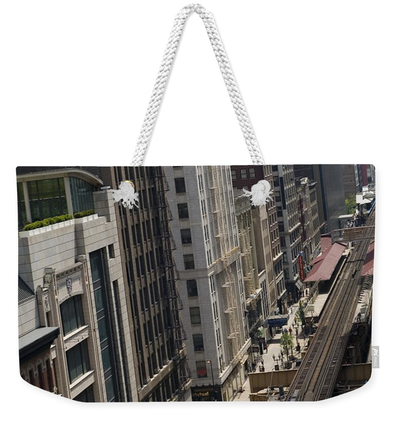 Chicago Weekender Tote Bag featuring the photograph Chicago Loop Train Tracks by Patrick Warneka