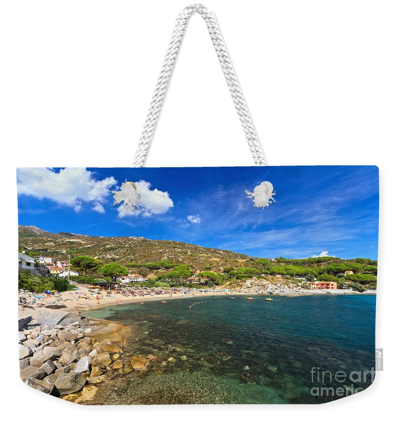 Tuscany Weekender Tote Bag featuring the photograph Elba Island - Beach In Seccheto by Antonio Scarpi