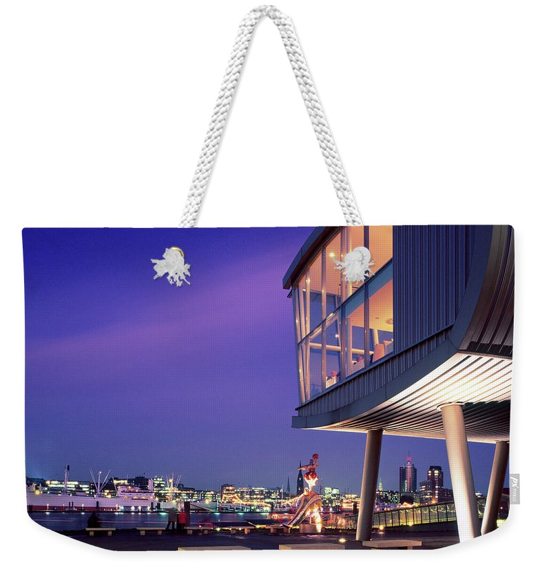 Altstadt Weekender Tote Bag featuring the photograph Elbe River With Waterfront Skyline by Marc Steinmetz