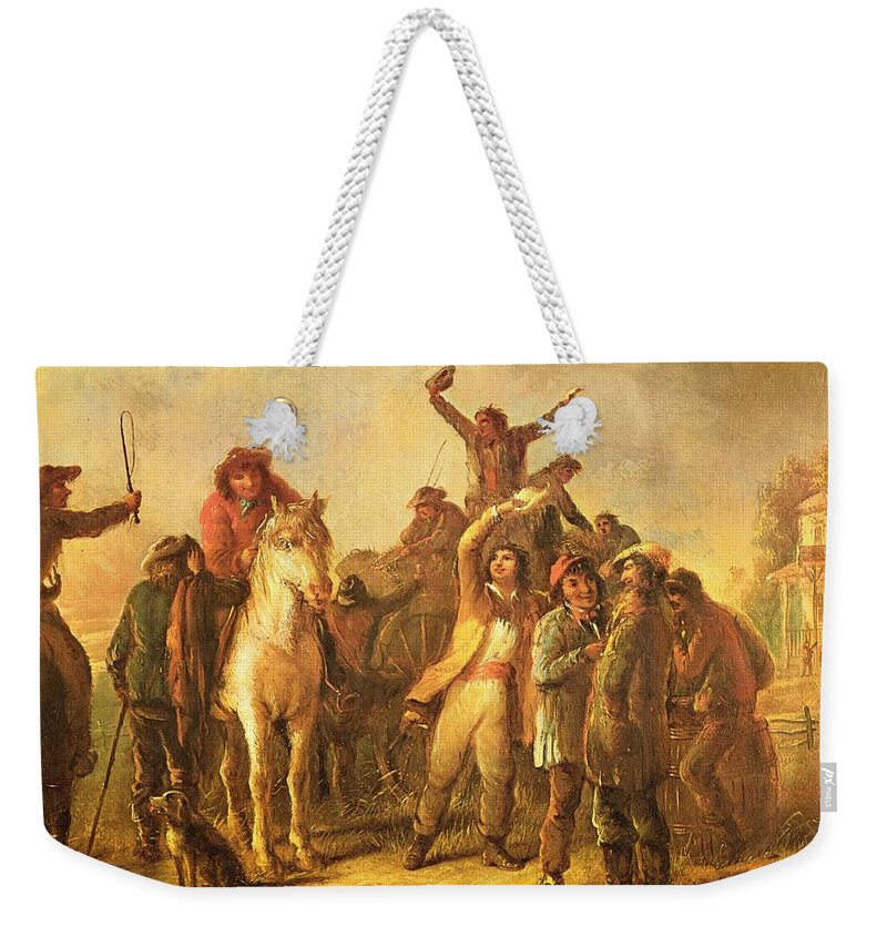 Election Scene Catonsville Weekender Tote Bag featuring the digital art Election Scene Catonsville by Alfred Jacob Miller