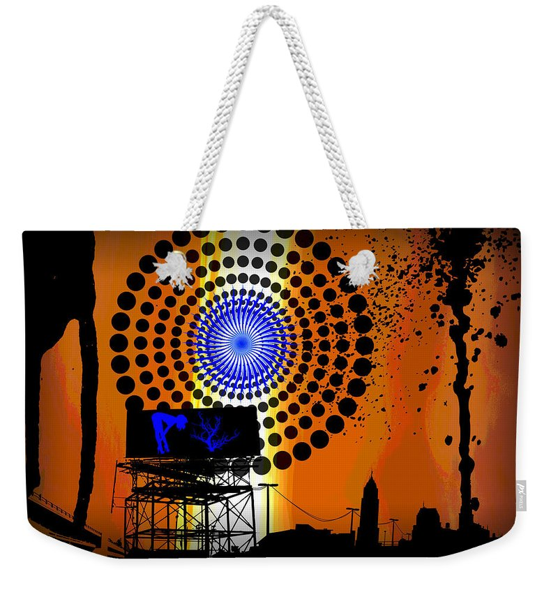 Electric Weekender Tote Bag featuring the digital art Electric Avenue by Michael Damiani
