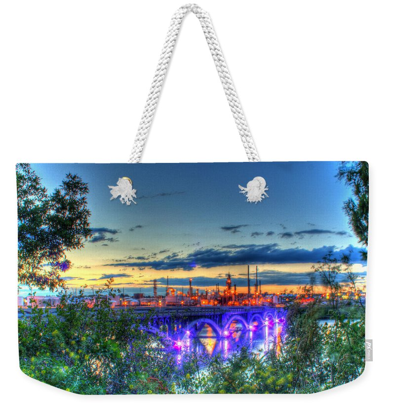 Refinery Weekender Tote Bag featuring the photograph Electric City Refinery Bridge by John Lee