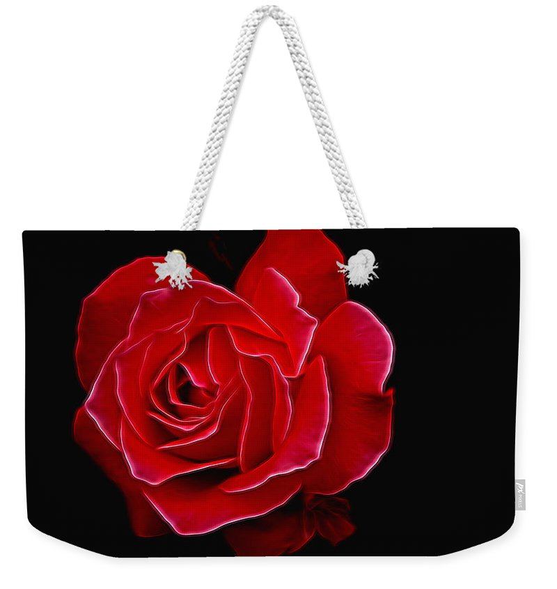 Beautiful Flowers Weekender Tote Bag featuring the photograph Electric Rose by Allen Beatty