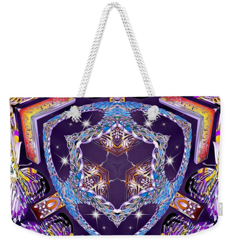 Sacredlife Mandalas Weekender Tote Bag featuring the digital art Electric Vortex by Derek Gedney