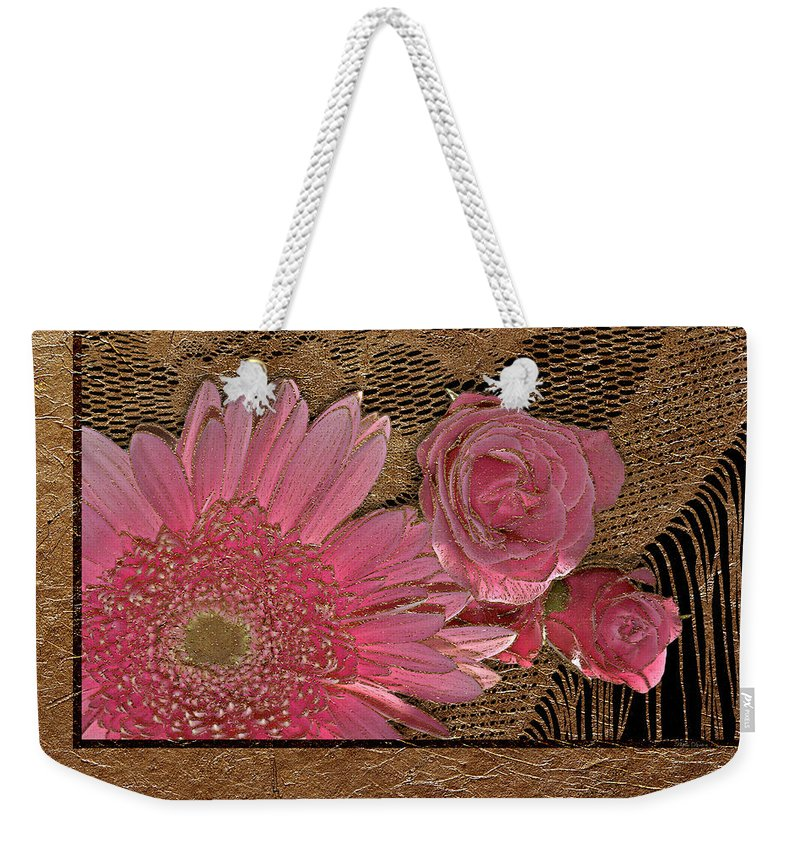 Flowers Weekender Tote Bag featuring the photograph Elegant Gold Lace by Phyllis Denton