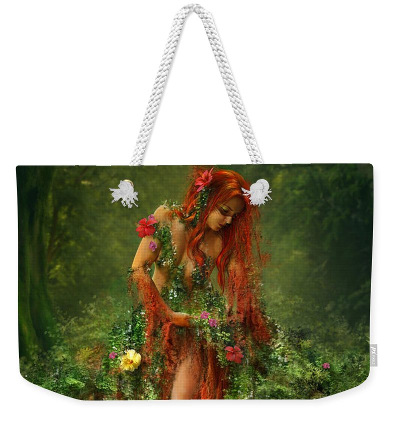 Fantasy Weekender Tote Bag featuring the digital art Elements - Earth by Cassiopeia Art