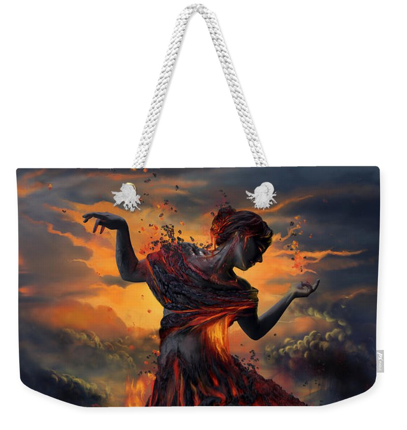Fire Weekender Tote Bag featuring the digital art Elements - Fire by Cassiopeia Art