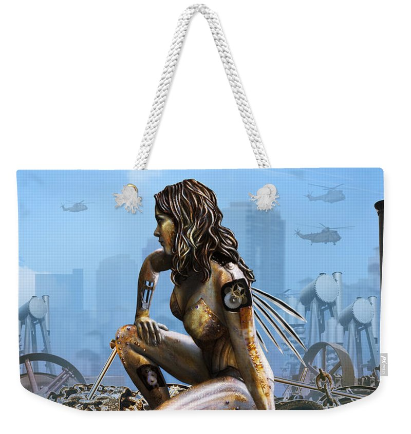 Fantasy Weekender Tote Bag featuring the digital art Elements - Metal by Cassiopeia Art