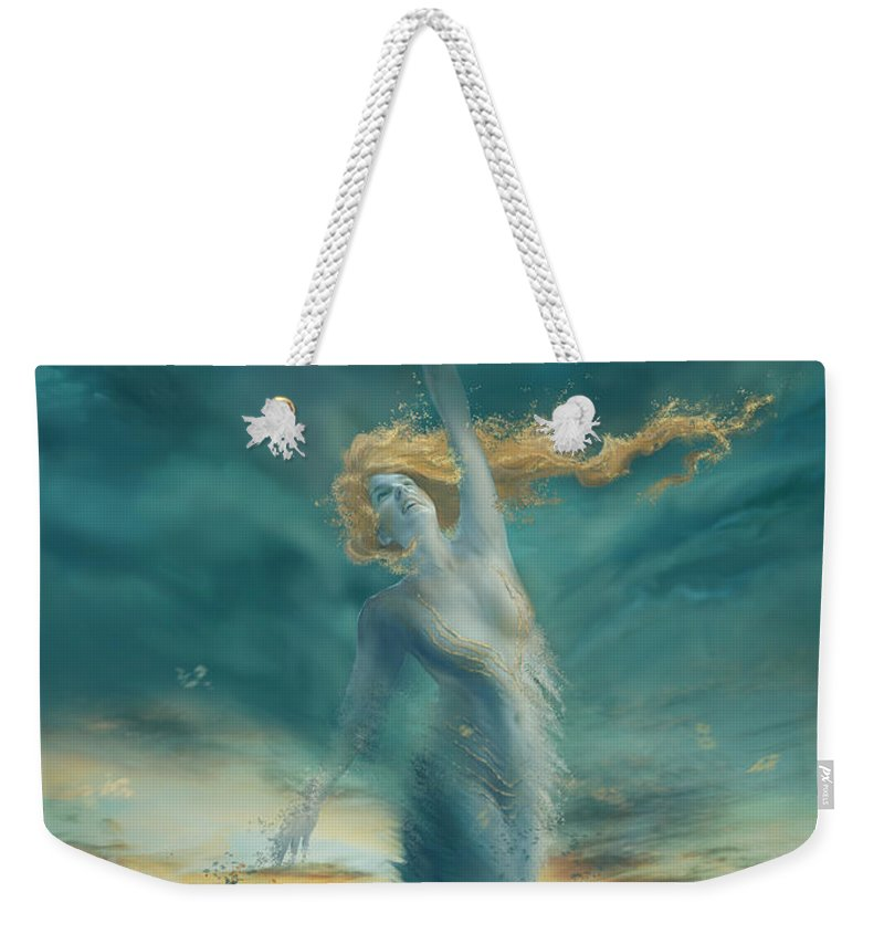 Fantasy Weekender Tote Bag featuring the digital art Elements - Wind by Cassiopeia Art