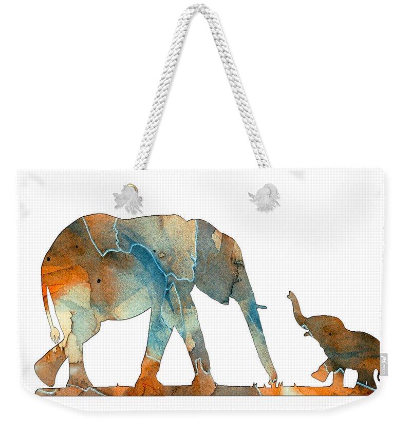 Elephant Weekender Tote Bag featuring the digital art Elephant 01-2 by Voros Edit