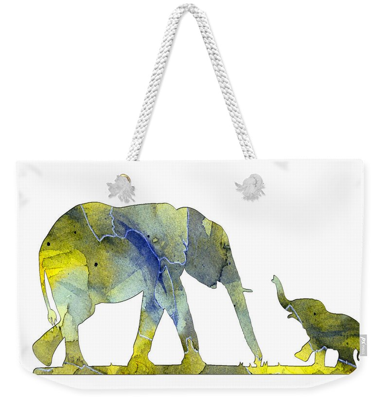 Elephant Weekender Tote Bag featuring the digital art Elephant 01-5 by Voros Edit