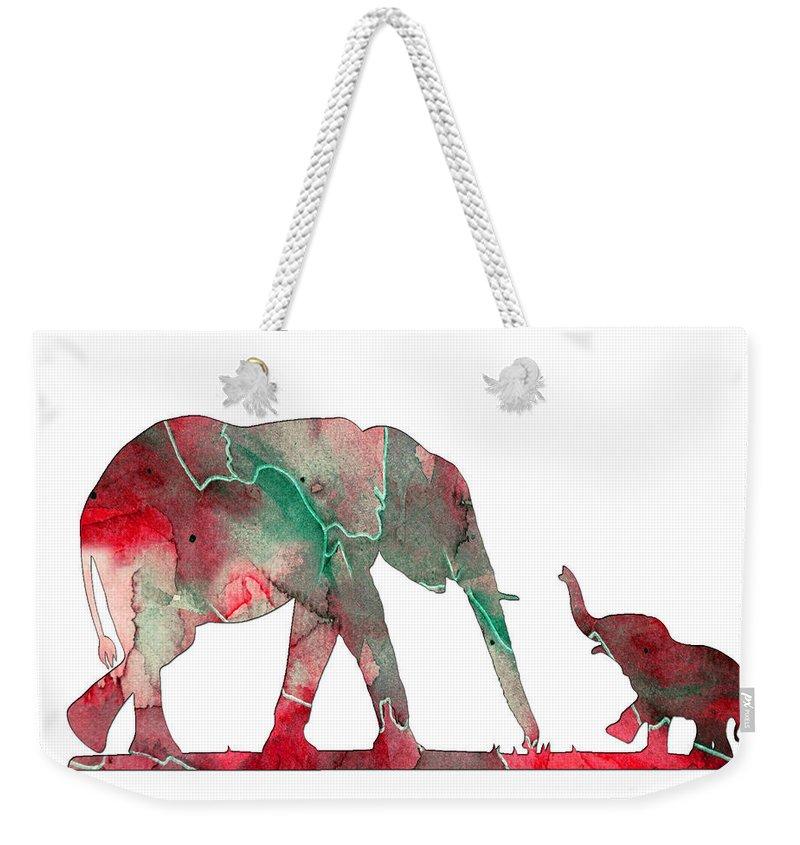 Elephant Weekender Tote Bag featuring the digital art Elephant 01-6 by Voros Edit