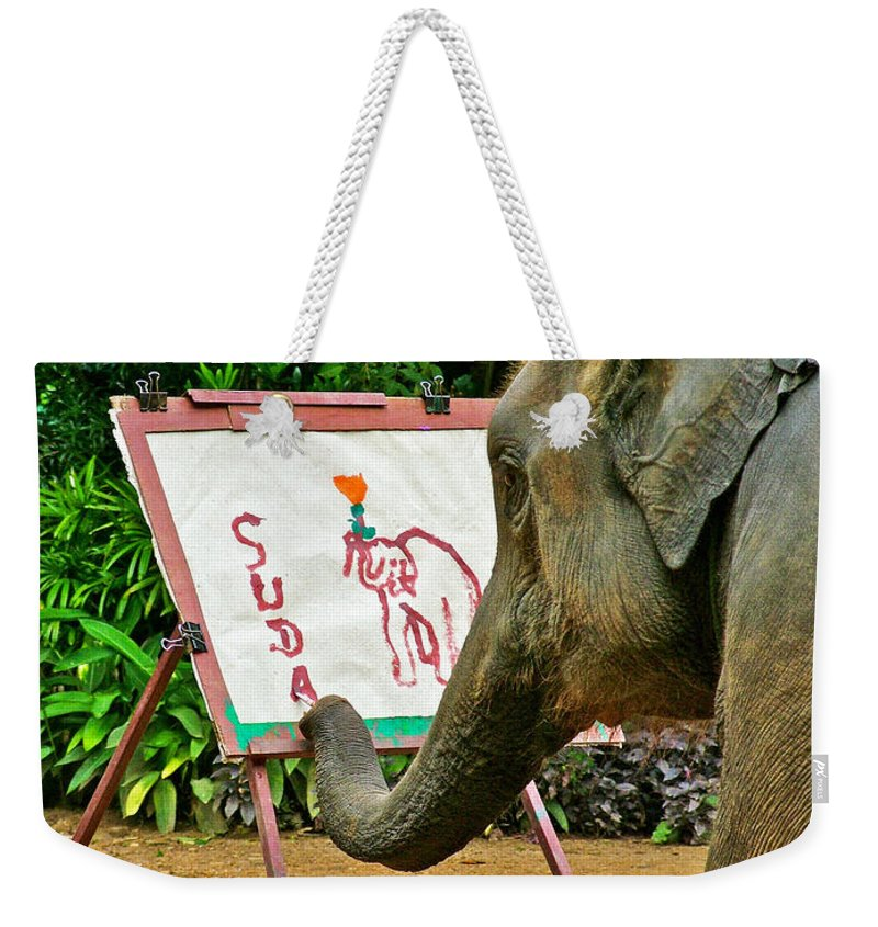 Elephant Artist In Mae Taeng Elephant Park Near Chiang Mai Weekender Tote Bag featuring the photograph Elephant Artist In Mae Taeng Elephant Park Near Chiang Mai-thailand by Ruth Hager