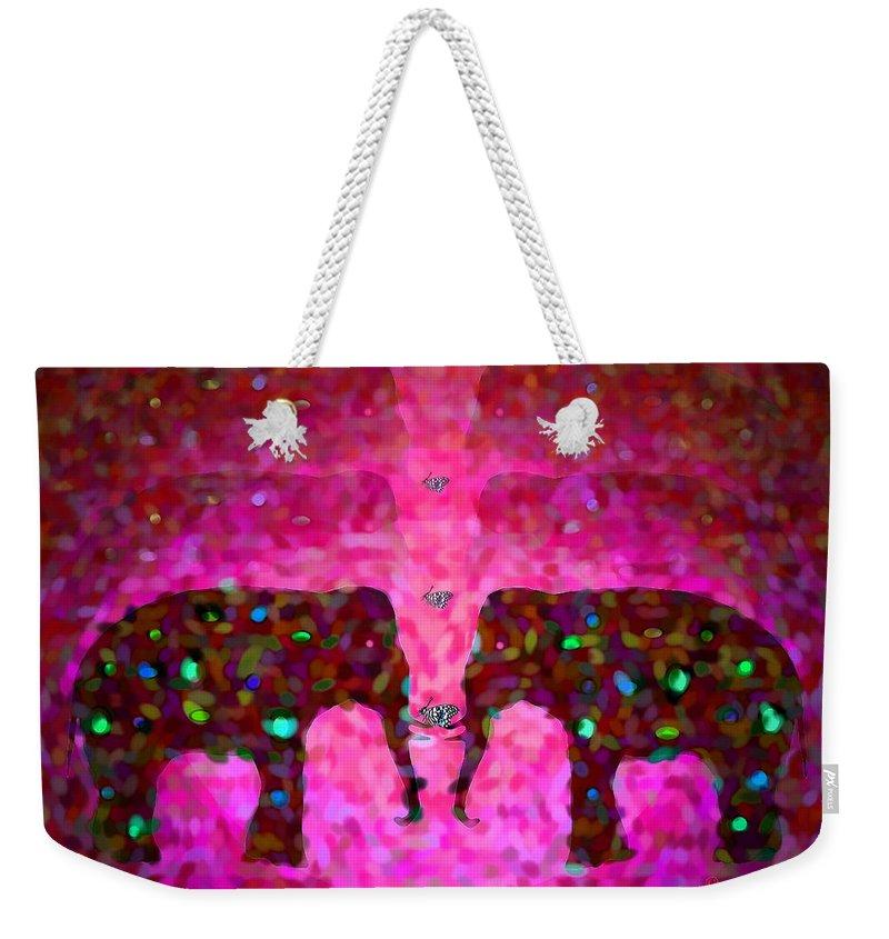 Magenta Weekender Tote Bag featuring the photograph Elephant Impressions In Magenta by Joyce Dickens