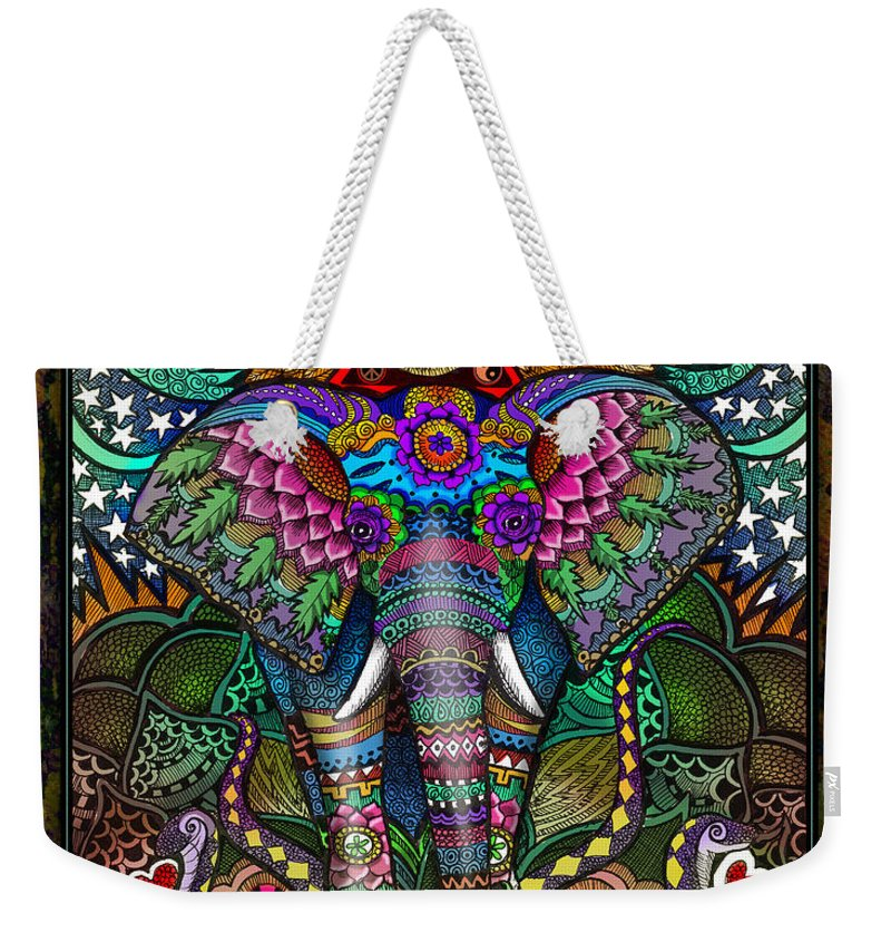 Elephant Weekender Tote Bag featuring the mixed media Elephant Dream by Julie Oakes