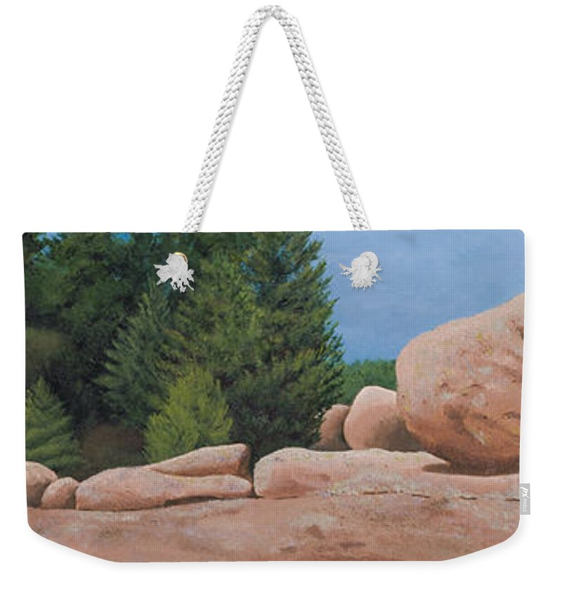 Elephant Rocks State Park Weekender Tote Bag featuring the painting Elephant Rocks by Garry McMichael