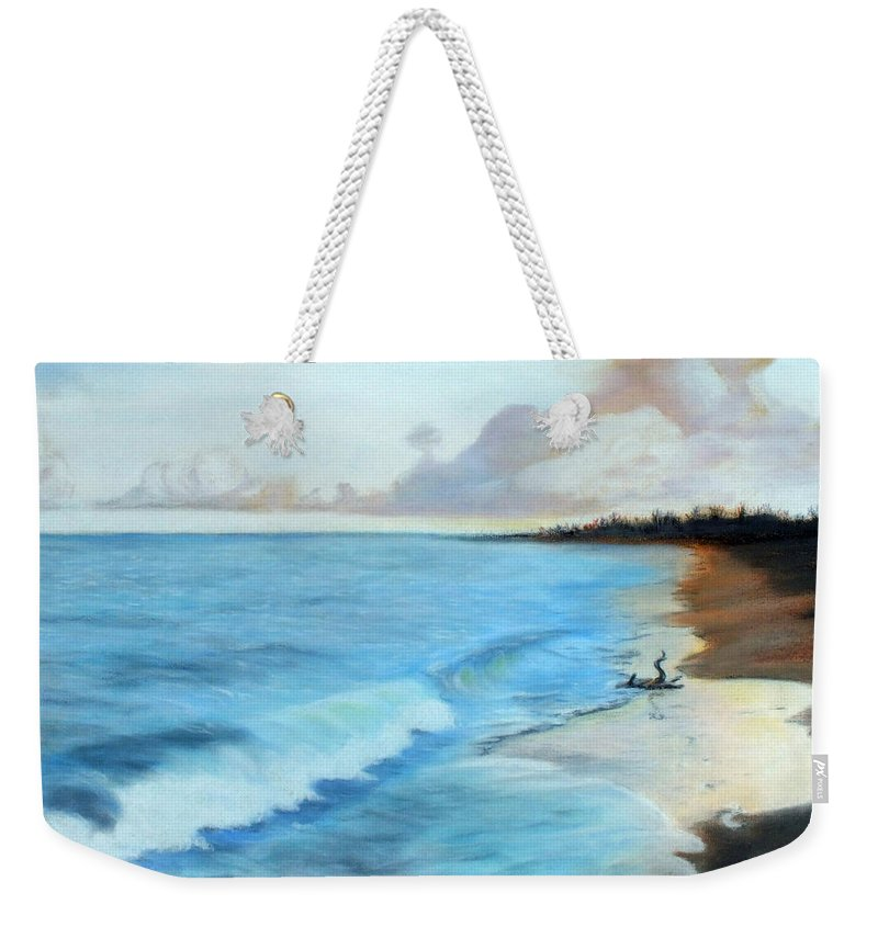 Chris Mccullough Weekender Tote Bag featuring the photograph Eleutheran Seashore by Chris McCullough