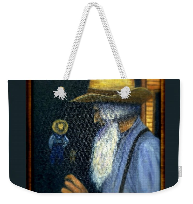 Men Weekender Tote Bag featuring the painting Eli Remembers by Gail Kirtz