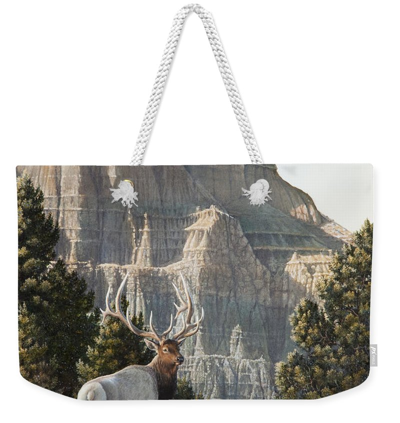 Painting Weekender Tote Bag featuring the painting Elk At Cathedral Rock by Mike Stinnett