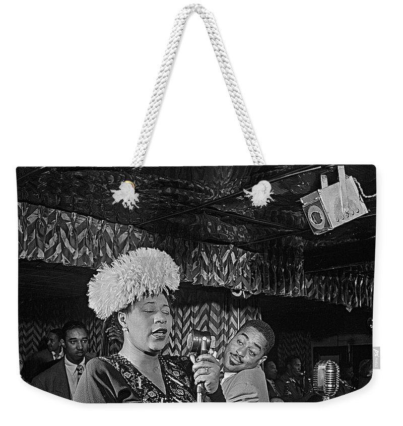 Ella Fitzgerald And Dizzy Gillespie William Gottleib Photo Unknown Location September 1947 Weekender Tote Bag featuring the photograph Ella Fitzgerald And Dizzy Gillespie William Gottleib Photo Unknown Location September 1947-2014. by David Lee Guss
