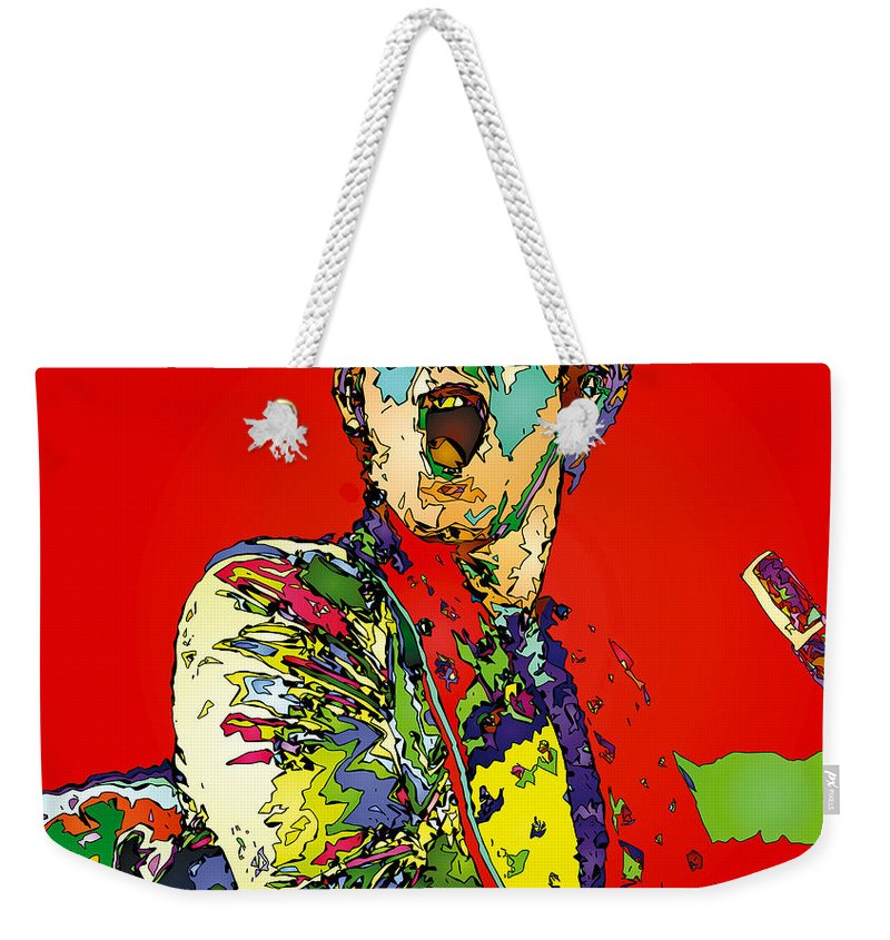 Elton John Weekender Tote Bag featuring the painting Elton In Red by John Farr