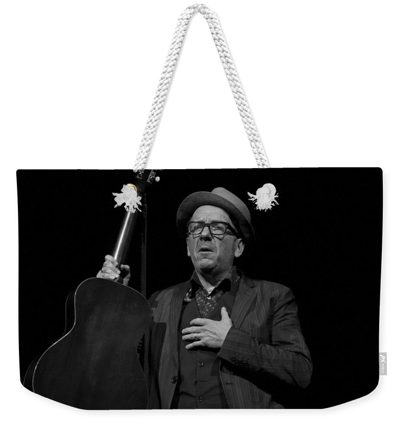 Elvis Weekender Tote Bag featuring the photograph Elvis Costello by Jeff Ross