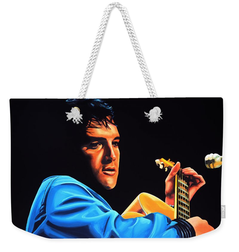 Elvis Weekender Tote Bag featuring the painting Elvis Presley 2 Painting by Paul Meijering